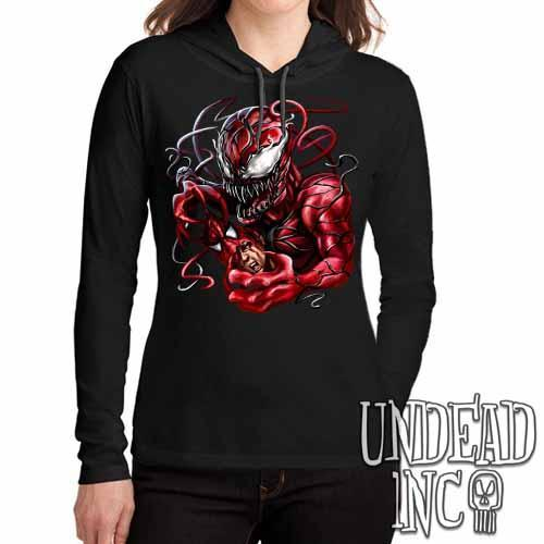 Carnage Spider-man - Ladies Long Sleeve Hooded Shirt