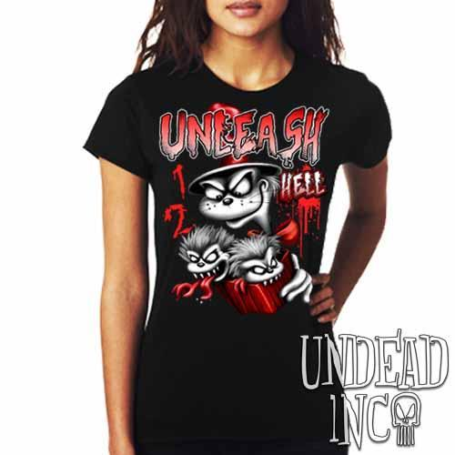 Cat In The Hat Unleash Hell Black & Grey - Ladies T Shirt - Undead Inc Ladies T-shirts,