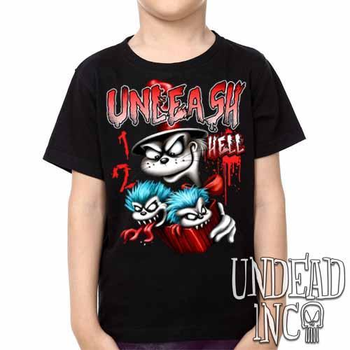 Cat In The Hat Unleash Hell -  Kids Unisex Girls and Boys T shirt Clothing - Undead Inc Kids T-shirts,