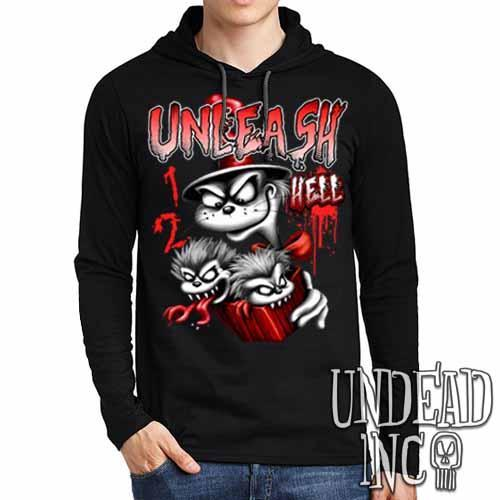 Cat In The Hat Unleash Hell Black & Grey Mens Long Sleeve Hooded Shirt - Undead Inc Long Sleeve T Shirt,