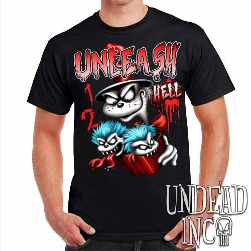 Cat In The Hat Unleash Hell - Mens T Shirt - Undead Inc Mens T-shirts,