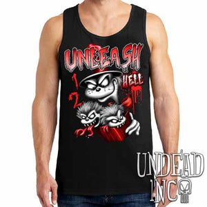 Cat In The Hat Unleash Hell Black & Grey Mens Tank Singlet - Undead Inc Mens Tanks,