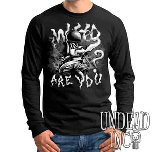 Who Are You? Caterpillar Alice In Wonderland Black & Grey - Mens Long Sleeve Tee