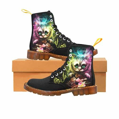 Cheshire Cat Alice In Wonderland Black MENS Martin Boots - Undead Inc Mens Boots,