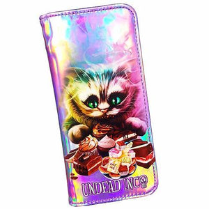 Alice In Wonderland Cheshire Cat Tea Party Undead Inc Hologram Long Line Wallet Purse - Undead Inc Wallet,