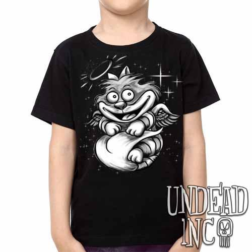 Alice In Wonderland Cheshire Angel Cat - Kids Unisex Girls and Boys T shirt Clothing - Undead Inc Kids T-shirts,
