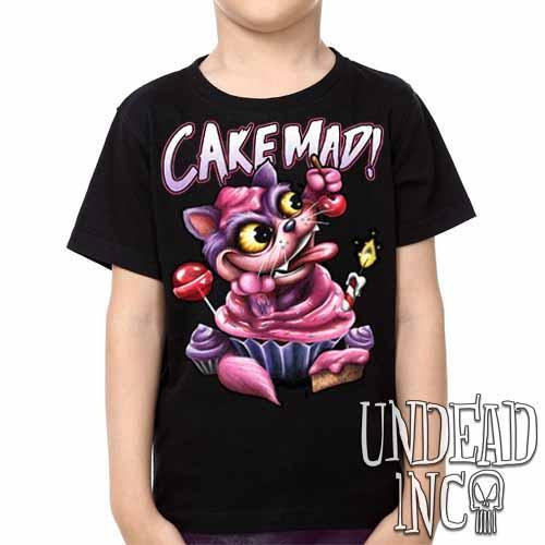 Alice In Wonderland Cheshire Cat Cake Mad - Kids Unisex Girls and Boys T shirt Clothing - Undead Inc Kids T-shirts,