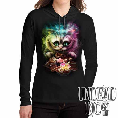 Alice In Wonderland Cheshire Cat  - Ladies Long Sleeve Hooded Shirt - Undead Inc Long Sleeve T Shirt,
