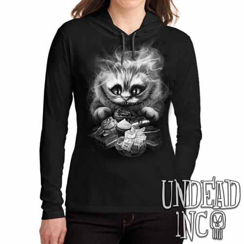 Alice In Wonderland Cheshire Cat Black Grey Ladies Long Sleeve Hooded Shirt - Undead Inc Long Sleeve T Shirt,