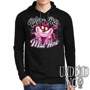 We're All Mad Alice In Wonderland Cheshire Cat  - Mens Long Sleeve Hooded Shirt