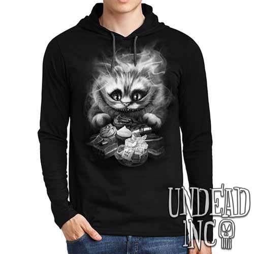 Tim Burton Cheshire Cat Black Grey Mens Long Sleeve Hooded Shirt