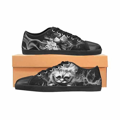 Alice In Wonderland Cheshire Cat Men's Black Grey Canvas Shoes - Undead Inc Men's Canvas Shoes,