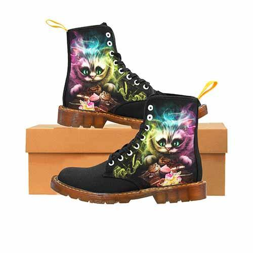 Cheshire Cat Alice In Wonderland Black LADIES Martin Boots - Undead Inc Womens Boots,