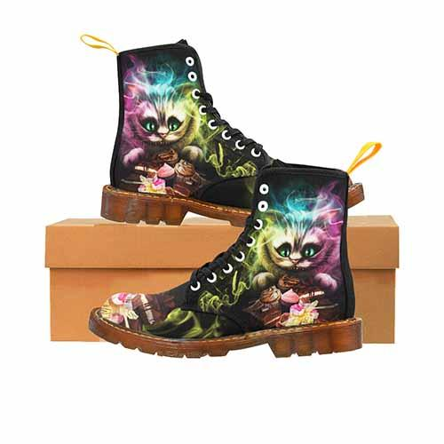Cheshire Cat Alice In Wonderland LADIES Martin Boots- Tea Party Variant - Undead Inc Womens Boots,