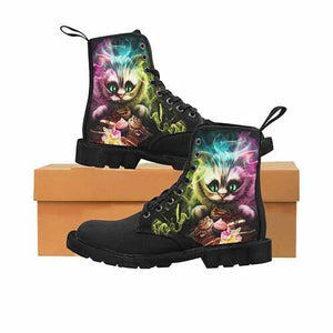 Cheshire Cat Alice In Wonderland LADIES BLACK SOLE Martin Boots - Undead Inc Womens Boots,