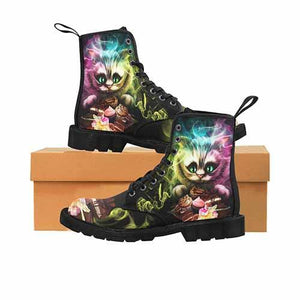 Cheshire Cat Alice In Wonderland LADIES BLACK SOLE Martin Boots Tea Party Variant - Undead Inc Womens Boots,