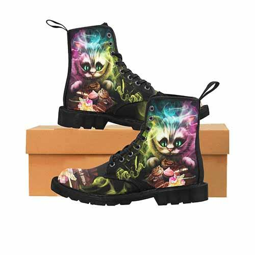 Cheshire Cat Alice In Wonderland MENS BLACK SOLE Martin Boots - Tea Party Variant - Undead Inc Mens Boots,