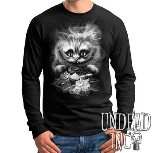 Tim Burton Cheshire Cat Black & Grey - Mens Long Sleeve Tee Mens Long Sleeve Shirt Undead Inc