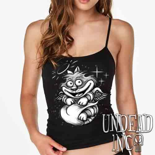 Alice In Wonderland Cheshire Angel Cat - Petite Slim Fit Tank Petite Slim Fit Tanks Undead Inc