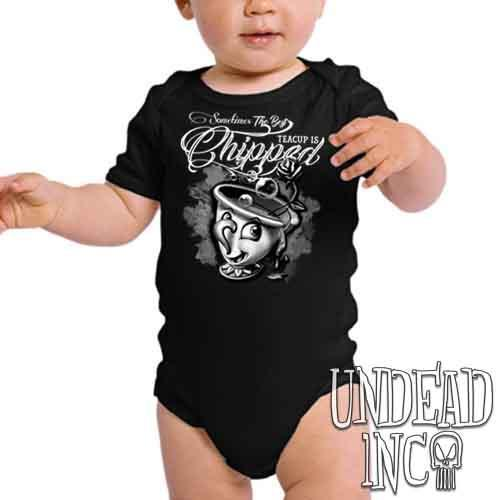 Beauty and the Beast Chip Teacup Black & Grey - Infant Onesie Romper