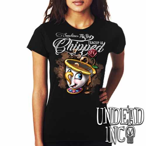 Beauty and the Beast Chip Teacup - Ladies T Shirt - Undead Inc Ladies T-shirts,