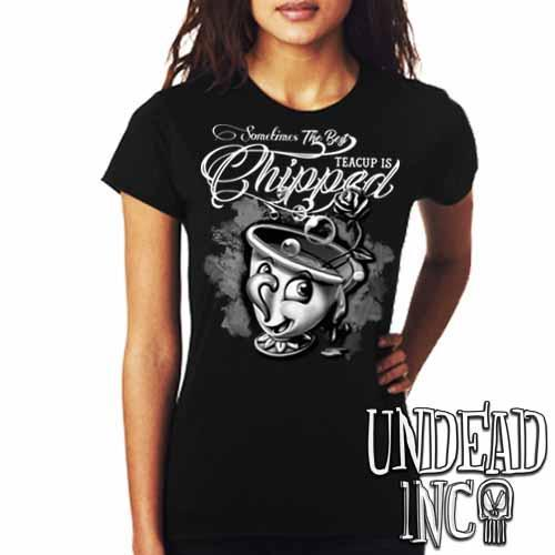 Beauty and the Beast Chip Teacup - Ladies T Shirt Black & Grey - Undead Inc Ladies T-shirts,