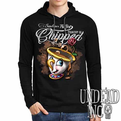 Beauty and the Beast Chip Teacup - Mens Long Sleeve Hooded Shirt - Undead Inc Long Sleeve T Shirt,