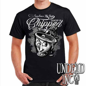Beauty and the Beast Chip Teacup - Mens T Shirt Black & Grey - Undead Inc Mens T-shirts,