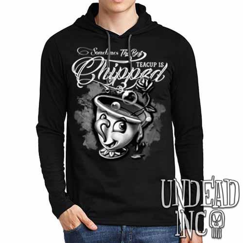 Beauty and the Beast Chip Teacup - Mens Long Sleeve Hooded Shirt Black & Grey - Undead Inc Long Sleeve T Shirt,