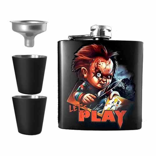 Chucky Let's Play Undead Inc Hip Flask Set - Undead Inc Hip Flask,