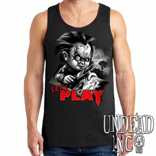 Chucky Let's Play Black & Grey Mens Tank Singlet - Undead Inc Mens Tanks,