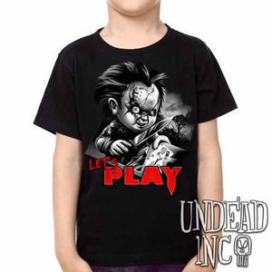 Chucky Let's Play Black Grey Kids Unisex Girls and Boys T shirt - Undead Inc Kids T-shirts,