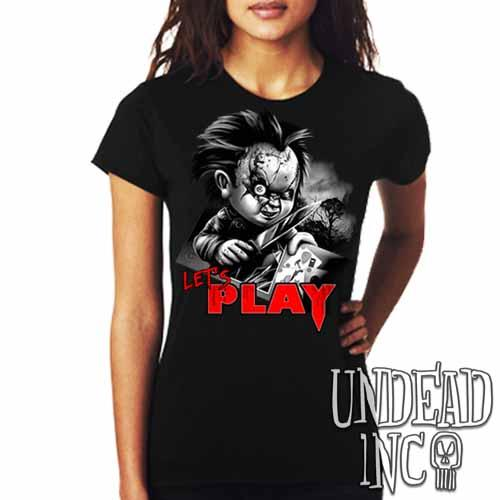 Chucky Let's Play Black Grey Ladies T Shirt - Undead Inc Ladies T-shirts,