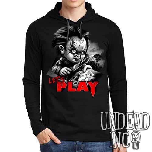 Chucky Let's Play Black Grey Mens Long Sleeve Hooded Shirt - Undead Inc Long Sleeve T Shirt,