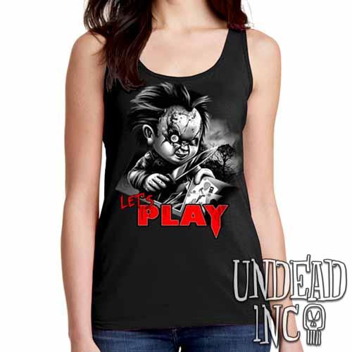 Chucky Let's Play Black Grey  Ladies Singlet Tank - Undead Inc Ladies Tank Tops,