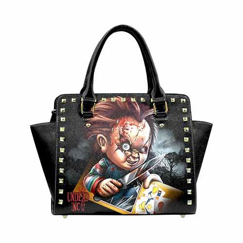 Chucky Premium Undead Inc PU Leather Stud Detail Shoulder / Hand Bag - Undead Inc Shoulder Handbags,