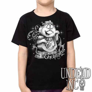 "Cogsworth ""Enchanted"" Rose Beauty & the Beast - Kids Unisex Girls and Boys T shirt Clothing Black Grey - Undead Inc Kids T-shirts,"