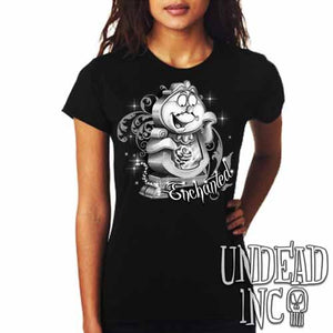 "Cogsworth ""Enchanted"" Rose Beauty & the Beast - Ladies T Shirt Black Grey - Undead Inc Ladies T-shirts,"