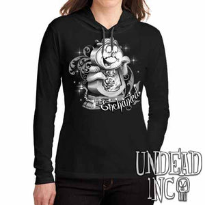 "Cogsworth ""Enchanted"" Rose Beauty & the Beast Black Grey Ladies Long Sleeve Hooded Shirt - Undead Inc Long Sleeve T Shirt,"