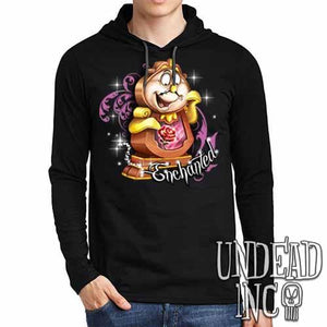 "Cogsworth ""Enchanted"" Rose Beauty & the Beast - Mens Long Sleeve Hooded Shirt - Undead Inc Long Sleeve T Shirt,"
