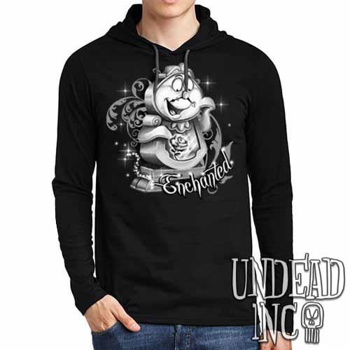 "Cogsworth ""Enchanted"" Rose Beauty & the Beast Black Grey Mens Long Sleeve Hooded Shirt - Undead Inc Long Sleeve T Shirt,"