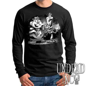 Cogsworth & Lumiere Enchanted Black & Grey - Mens Long Sleeve Tee
