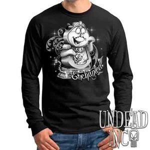 "Cogsworth ""Enchanted"" Rose Beauty & the Beast Black & Grey - Mens Long Sleeve Tee"