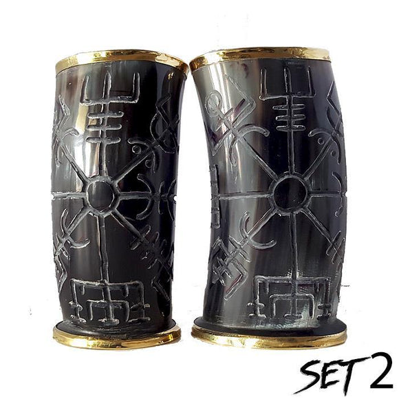 Viking Compass Hand Carved Drinking Horn Set Of 2