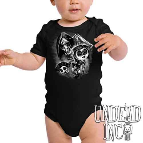Coraline Button Eyes Black & Grey - Infant Onesie Romper
