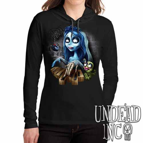 Corpse Bride Piano - Ladies Long Sleeve Hooded Shirt - Undead Inc Long Sleeve T Shirt,