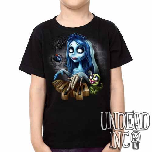 Corpse Bride Piano -  Kids Unisex Girls and Boys T shirt Clothing - Undead Inc Kids T-shirts,