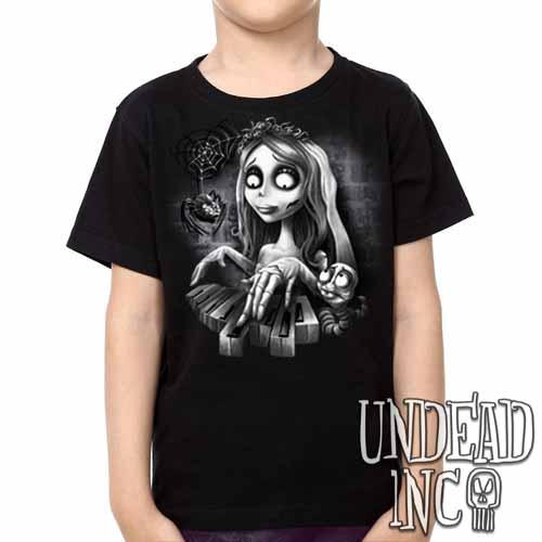 Corpse Bride Piano -  Kids Unisex Girls and Boys T shirt Clothing Black & Grey - Undead Inc Kids T-shirts,