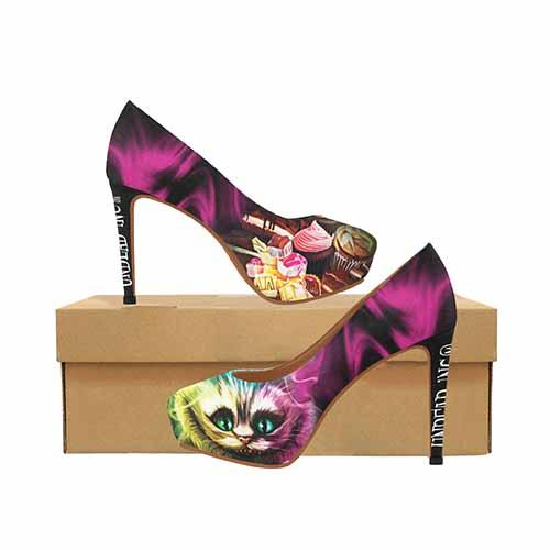 Alice In Wonderland Cheshire Cat Platform High Heels - Undead Inc High Heels,