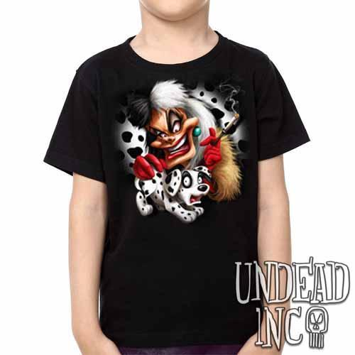 Villains Cruella De Vil Dalmatian Puppy Variant - Kids Unisex Girls and Boys T shirt Clothing